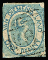 Lot 1186:1853 Imperf Courier Thin Hard White Paper 1d pale blue SG #3, narrow or just cut-into margins, tidy BN cancel, Cat £1,300 (when fine).
