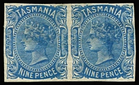 Lot 1190:1871-78 Sidefaces Wmk TAS & Lines Perf 11½ 9d blue Imperforate Pair, SG #148a, part og, Cat £550.