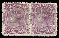 Lot 1192:1871-78 Sidefaces Wmk TAS & Lines Perf 12 5/- mauve pair, SG #155a, large part og, Cat £900.