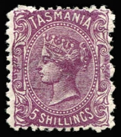 Lot 1191:1871-78 Sidefaces Wmk TAS & Lines Perf 12 5/- purple SG #155, fine mint, Cat £350.