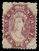 Lot 1010:1871-91 Chalon Wmk Double-Lined Numeral Perf 11½ 6d dull reddish violet, SG #139, MLH. Cat £200.