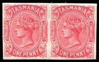 Lot 1193:1878 Sideface Wmk TAS Perf 14 1d rose-carmine Imperforate pair SG #156(Var), fine MUH, Cat £375. The DLR imperfs are far more rare than the later Hobart printings.