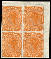 Lot 1194:1891 Sidefaces Wmk TAS & Lines Perf 12 ½d orange Imperforate corner block of 4, SG #172a, lower units MUH, Cat £600+.