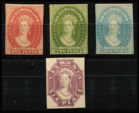 Lot 1185 [2 of 2]:Reprints 1d, 2d, 4d, 6d & 1/- Chalons on thin card, prepared for UPU distribution. (5)