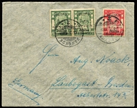 Lot 1478:1909 (May 13) cover to Germany with Jubilee Overprints 3 atts pair & '4' on 5 atts Narrow Surcharge H #122b tied by Bangkok 2 cds, sender's endorsement of a Ned-Lloyd ship's officer from Hong Kong on the flap. Superb! Ex Len Colgan.