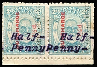 Lot 1696:1896 Typewritten Surcharges Reading upwards ½d on 1½d pale blue marginal pair SG #36B, interleaving has adhered to gum, Cat £900. A very scarce multiple.