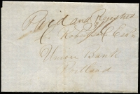 "Lot 989 [1 of 2]:1847 (Nov 25) outer from The Glenelg to Portland, marked ""Paid and Registered"", rated ""3/6"" and showing, on reverse, 'THE GLENE[LG]/[[crown]]/NO25/[1847]/PORT PHILLIP"