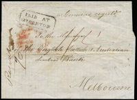 "Lot 1180 [1 of 2]:1855 (Aug 30) unstamped outer from Alberton to Melbourne, marked ""Registered"", rated ""1/4"" in red, showing fine framed 'PAID AT/ALBERTON' with, on reverse, oval 'ALBERTON/[crown]/AU*30/1855/VICTORIA' and 'SHIPLETTER/FREE/AU*31/1855/G·P·O·VICTORIA' in red."