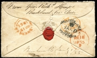 "Lot 1178 [2 of 2]:1855 (Jan 1) double rate cover from Beechworth (mss backstamp) to Ireland, marked ""Per Steamer Argo"" and ""Registered Letter"", rated ""2/-"" and ""1/6"", bearing 1/- Octagonal pair (small faults) tied by poor BO '55' and manuscript ""Regitd Letter"" and, on reverse, Melbourne, London (MR18/1855) and arrival datestamps. A scarce retaliatory rate cover. [The ship letter rate had been reduced to 6d by the UK on 1 October 1854, but Victoria refused to participate and the UK retaliated by increasing its rates. Victoria relented and reduce the rate to 6d on 1 July 1855, the UK then reducing its rate accordingly.]"