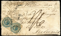 "Lot 1178 [1 of 2]:1855 (Jan 1) double rate cover from Beechworth (mss backstamp) to Ireland, marked ""Per Steamer Argo"" and ""Registered Letter"", rated ""2/-"" and ""1/6"", bearing 1/- Octagonal pair (small faults) tied by poor BO '55' and manuscript ""Regitd Letter"" and, on reverse, Melbourne, London (MR18/1855) and arrival datestamps. A scarce retaliatory rate cover. [The ship letter rate had been reduced to 6d by the UK on 1 October 1854, but Victoria refused to participate and the UK retaliated by increasing its rates. Victoria relented and reduce the rate to 6d on 1 July 1855, the UK then reducing its rate accordingly.]"