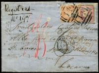 "Lot 1183 [1 of 2]:1856 (Feb 20) entire from Avoca to Locarno, Switzerland, with imperf 1/- Registered Die I and 6d orange Woodblock, both tied by BN '14', with handstruck 'd6', very scarce boxed 'COLONIES/ART - 18' in red and manuscript ""95"" (decimes) all on face, on back, Avoca, Melbourne, Australian Packet Liverpool (13.5), London, Basel and blue Locarno arrival. Odd minor age spot. [This cover is grossly understamped at 1/6d, instead of the minimum of 3/10d for a ¼oz registered letter to Switzerland, and therefore treated as unpaid - see ""Colonies Art. 18"" for unpaid or underpaid mail under the provisions of the Anglo-French treaty of December 1855 amending the original treaty of 1843.]"