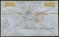 Lot 1191 [2 of 2]:1857 (Nov) cover from Melbourne to London, with 1/- Registered Die 2 Roul 6½-7½ vertically and 6d Woodblock 6d. (damaged top right corner) Roul 6½-7½ all sides, tied by BN '1' and showing red Registered arrival datestamp, handstruck 'd6' with Melbourne datestamp on reverse. A very late usage of the registered stamp and one of only five or so covers known with the rouletted stamp. RPSV Certificate (1998).