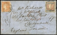 Lot 1191 [1 of 2]:1857 (Nov) cover from Melbourne to London, with 1/- Registered Die 2 Roul 6½-7½ vertically and 6d Woodblock 6d. (damaged top right corner) Roul 6½-7½ all sides, tied by BN '1' and showing red Registered arrival datestamp, handstruck 'd6' with Melbourne datestamp on reverse. A very late usage of the registered stamp and one of only five or so covers known with the rouletted stamp. RPSV Certificate (1998).