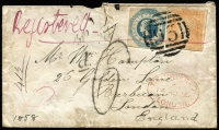 "Lot 1192:1858 (Jun) envelope from Ararat to London, endorsed ""Registered"" in red ink, with 6d Woodblock and 1/- Octagonal, both clearly tied by fine BN '93', mss ""6"" in red, 'd6' handstamp and red Registered arrival datestamp. (14AU58) with, on back, small part Ararat, Melbourne and arrival datestamps; the envelope a little soiled and with part of flap missing which has affected top of face panel. RPSV Certificate (2008). [The 1/- Registered stamp had been withdrawn on 5 January 1858, so that the imperf 1/- Octagonal again became available to prepay registration. This in turn was short-lived as the remaining stock of imperforate stamps was perforated in early 1859.]"