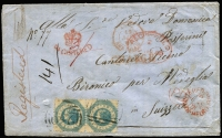 "Lot 991 [1 of 2]:1860 (Sep 5) underpaid cover from Dunnolly to Bironico, Switzerland, with 1/- Octagonal P12 pair tied by BN '239', mss ""3/-"" in red ink, 'REGISTERED/A/SE5/60/MELBOURNE', '[crown]/REGISTERED' handstamp, framed 'PD', London Registered cancel, Calais cds and 'CHARGE', all in red, with Dunolly, Basel and arrival datestamps on reverse. A most unusual franking. RPSV Certificate (2008). [For a possible explanation of the franking we refer you to ""The Pre-U.P.U. Destination Mail of Victoria"" by Ben Palmer, page 167, item 126 in the listing.]"