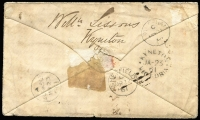 Lot 992 [2 of 2]:1861 (Jan 23) cover from Kyneton to Wath-Upon-Dearne, England and redirected to Worksop, with 1/- Octagonal P12 x2 tied by BN '57', red Registered Melbourne cds overstruck by '2' handstamp (applied upon redirection) and, on back, Kyneton and transit datestamps; the envelope a little soiled and creased.