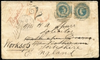 Lot 992 [1 of 2]:1861 (Jan 23) cover from Kyneton to Wath-Upon-Dearne, England and redirected to Worksop, with 1/- Octagonal P12 x2 tied by BN '57', red Registered Melbourne cds overstruck by '2' handstamp (applied upon redirection) and, on back, Kyneton and transit datestamps; the envelope a little soiled and creased.