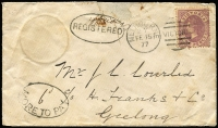 "Lot 1230 [1 of 2]:1877 (Feb 15) cover from Melbourne to Geelong with outline of a coin at upper left, 2d Bell tied by duplex, oval-framed 'REGISTERED' with manuscript ""Officially"" above, oval-framed '""6""/MORE TO PAY' both on face, fine 'REGISTERED/FE16/77/GEELONG' on back; damage at top has been repaired. Most unusual. RPSV Certificate (2008). Ex Rod Moreton."