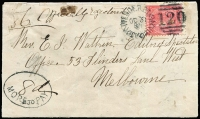 "Lot 1233:1881 (Oct 31) cover from Wedderburn to Melbourne, 4d Laureate tied by Wedderburn '120' duplex, endorsed ""Officially Registered"" framed oval '""8d""/MORE TO PAY' on face. The cover has been repaired and resized. RPSV Certificate (2008). Ex Pack, Max Watson."