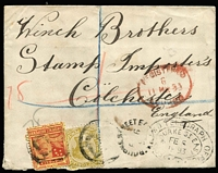 Lot 1261:1893 (Feb 6) use of 2½d & 3d on registered cover to England, unframed 'BOURKE STREET E[AST]/FE6/93/V[IC]