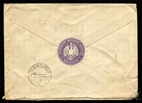 Lot 1262 [2 of 2]:1894 (Jun 21) linen-lined cover (174x127mm) with fine lilac 'KAISERLICH DEUTSCHES KONSULAT/[eagle]/MELBOURNE' wafer on the reverse, registered to the German Consulate at Auckland, scarce franking of 1d orange & 1/- brown-red tied by 'R' cancels, Auckland arrival backstamp, minor blemishes.