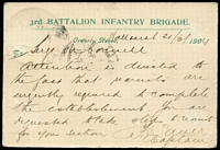 Lot 1258 [2 of 2]:Minister of Defence: 1904 use of OHMS postcard with '3rd BATTALION INFANTRY BRIGADE' header in green on the reverse & 'MINISTER OF DEFENCE/FRANK/[Arms]/STAMP/VICTORIA' handstamp, 1d perf 'OS' tied by Ballarat duplex. Steig & Watson only record one example of this card, used in 1896. [From 1/11/1902, pre-franked articles could still be used provided appropriate postage was affixed over the frank stamp.]