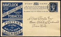 Lot 333 [1 of 4]:1876-09 Range of used & unused, also a few Letter Cards, includes used Beer & Baccy, grey-green Coronation x3 (2 used), no 1d browns or pinks. Many cards have printed messages on the back from a wide variety of firms & associations. Most are simple acknowledgements or appointments in black. A very good lot. (40+)