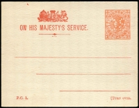 Lot 1165 [3 of 4]:1905 1d Pink 'OS' in Dots [1] 1d brick-red for Customs & Excise Office, 8APR14 Melbourne machine cancel; [2] 1d rose on small card for School Board meetings, unused, Stieg #D2,D4. (2)
