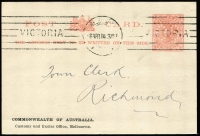 Lot 1165 [1 of 4]:1905 1d Pink 'OS' in Dots [1] 1d brick-red for Customs & Excise Office, 8APR14 Melbourne machine cancel; [2] 1d rose on small card for School Board meetings, unused, Stieg #D2,D4. (2)