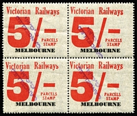 Lot 1257 [2 of 5]:1958-66 Eleventh Series 1d to 10/- set (ex 7d & 4/-) blocks of 4, all with tidy (Melbourne) 'CANCELLED/CCM' handstamps in violet. (16 blocks)