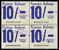 Lot 1257 [1 of 5]:1958-66 Eleventh Series 1d to 10/- set (ex 7d & 4/-) blocks of 4, all with tidy (Melbourne) 'CANCELLED/CCM' handstamps in violet. (16 blocks)
