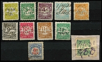Lot 1255 [2 of 3]:Relief Tax: used 1d to 12d simplified range (12d emerald x2, sage-green x1) & 1936 Not Transferable 8d red & blue. Plus small Tax Instalment range of 9d to £2. (18)