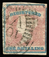 Lot 1135:1854-55 Imperf Calvert Woodblocks 1/- Registered Die 1, 4 margins, 1 just touching, SG #34, fine BO '10' cancel.