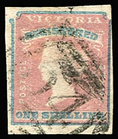 Lot 1147:1854-55 Imperf Calvert Woodblocks 1/- Registered Die 1, SG #34, 4-margins, just touched in TRC, trivial thin, BN 54 cancel, Cat £200.