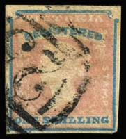 Lot 1210:1854-55 Imperf Calvert Woodblocks 1/- Registered Die 1, SG #34, 4 good margins, BN 25 cancel, Cat £200.