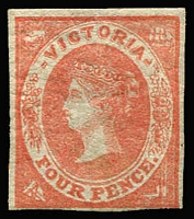 Lot 898:1857 Imperf Emblems Wmk Large Star 4d vermillion, 4-margins, SG #42, minor gum damage. Cat £550.