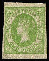 Lot 1213:1857 Rouletted 7-9 By GPO Staff 1d green Roul 7-7½ horizontally, SG #46, MNG, light corner crease, Cat £650. RPSV cert (1997).