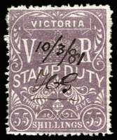 Lot 1240:1884-96 Stamp Duty Litho 1st V/Crown Perf 13 35/- grey-violet, SG #245, Cat £375 with fiscal cancel, usual rough perfs. A nice example of this rare stamp.