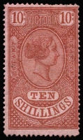 Lot 1236:1884 Stamp Statute Wmk Single Lined Numeral Perf 13 10/- red-brown/pink, SG #219, lovely rich colour, couple of nibbed perfs, large part og, Cat £2,500. RPSV cert (2001). A rare stamp.