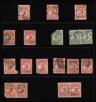 Lot 922 [2 of 6]:Barred Numeral Cancels On Kangaroos mainly on 1d reds, with rated cancels comprising Rated 'R' '164'(2); Rated 'SS' '196'(3), '2029'; Rated 'S' '1653'; quality of strikes fair to very fine. (100+)