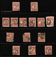 Lot 922 [3 of 6]:Barred Numeral Cancels On Kangaroos mainly on 1d reds, with rated cancels comprising Rated 'R' '164'(2); Rated 'SS' '196'(3), '2029'; Rated 'S' '1653'; quality of strikes fair to very fine. (100+)