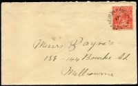 Lot 1259:Coongulmerang Upper: unframed 'COONGULMERANG UPPER/AP5/22/VIC' on 2d red KGV on cover. [Rated 3R - much harder on cover.]  PO 18/10/1880; renamed Coongulmerang PO c.-/8/1922.