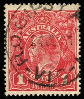 Lot 928:Gipsy Point: 'R.O.GIPSY P[OINT]/24JL15/VIC' (A2) on 1d red KGV. [Rated 3R - an example sold for nearly $300 in 2007.]  RO 1/7/1907; PO 1/7/1927; closed 1/12/1970.
