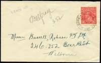 Lot 1262:Mount Sabine: 'MOUNT SABINE/15NO27/VICTORIA' on 1½d red KGV on cover. Very rare, even more so on cover.  RO 13/5/1907; PO 1/7/1927; closed 13/1/1939.