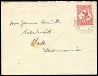 Lot 1263:Oakleigh West: 'OAKLEIGH WEST/4AU13/VIC' on 1d Roo on cover to Tasmania. Rare.  PO 1/7/1911; replaced by Oakleigh North PO 15/2/1924.