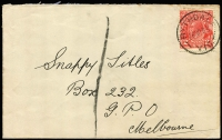 Lot 1265:Rythdale: fine 2nd type 'RYTHDALE/18SP33/VIC.' (arcs 6,6) on 2d red KGV. A very rare postmark on cover.  Renamed from Rythedale PO c.1929; closed 14/1/1944.
