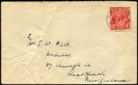 Lot 1266:Tabor: 'TABOR/2AU32/VIC' on 2d red KGV on cover.  Renamed from Tabor R.S. RO c.1910; PO 1/7/1927; closed 30/9/1952.