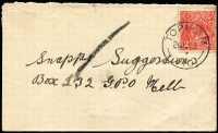 Lot 1267:Topiram: 'TOPIRAM/26OC33/VIC.' on 2d red KGV on cover.  Renamed from Warneet RO 6/4/1925; PO 1/7/1927; TO 1/7/1957; closed 11/10/1963.