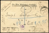 Lot 1292 [1 of 2]:1895 (Oct 2) use of stampless OHMS cover from Office of Titles, locally registered in Perth, unframed 'NOT KNOWN/BY LETTER CARRIER' on face. Cover unopened with contents inside. Attractive smaller official envelope.