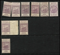 Lot 1286 [2 of 2]:1881-97 Tall Types: Wmk Crown/AC (wide) 1d, 2d, 3d, 6d, 1/- & 2/6d (MNG); Wmk Crown/AC (narrow) 2d marginal, 3d & 3/- (MNG); Wmk W Crown A 1d (10)
